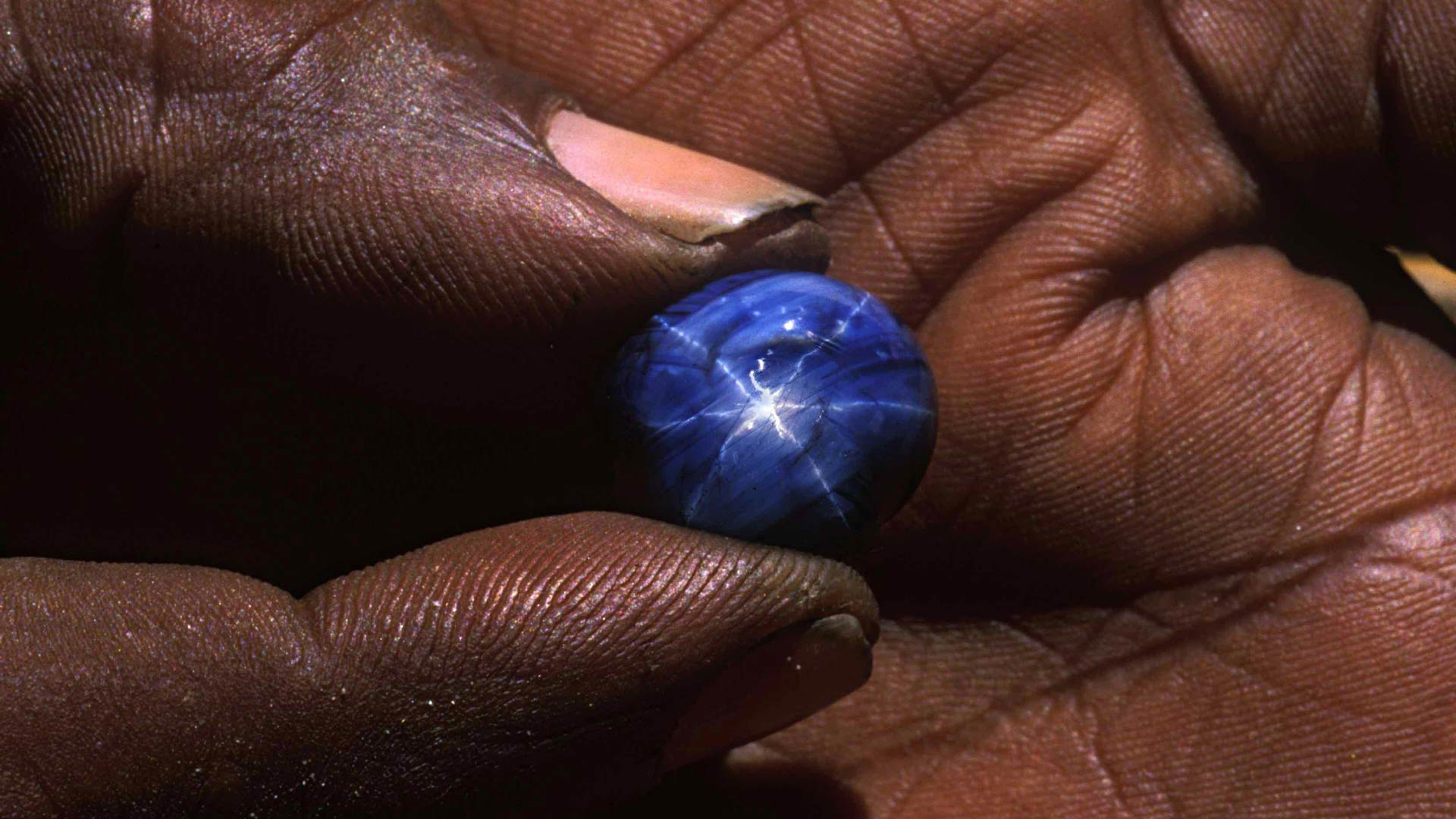 Sapphire in the palm of the hand